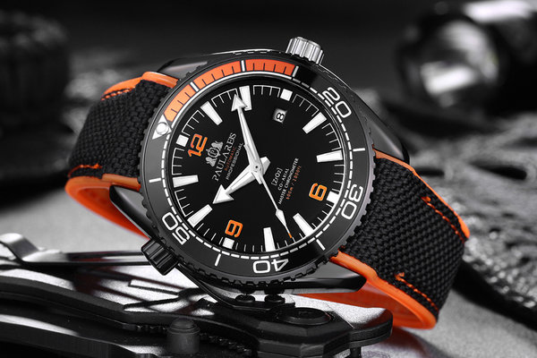 "Männeruhr - BlackOrange Design ""Fifty"""